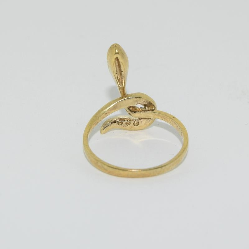 9ct Gold On Silver Opaline Snake ring. - Image 3 of 6