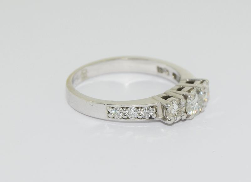 Moissanite 3 stone approx 0.5 points and sidestone set in 9ct White Gold ring in original box. - Image 5 of 5
