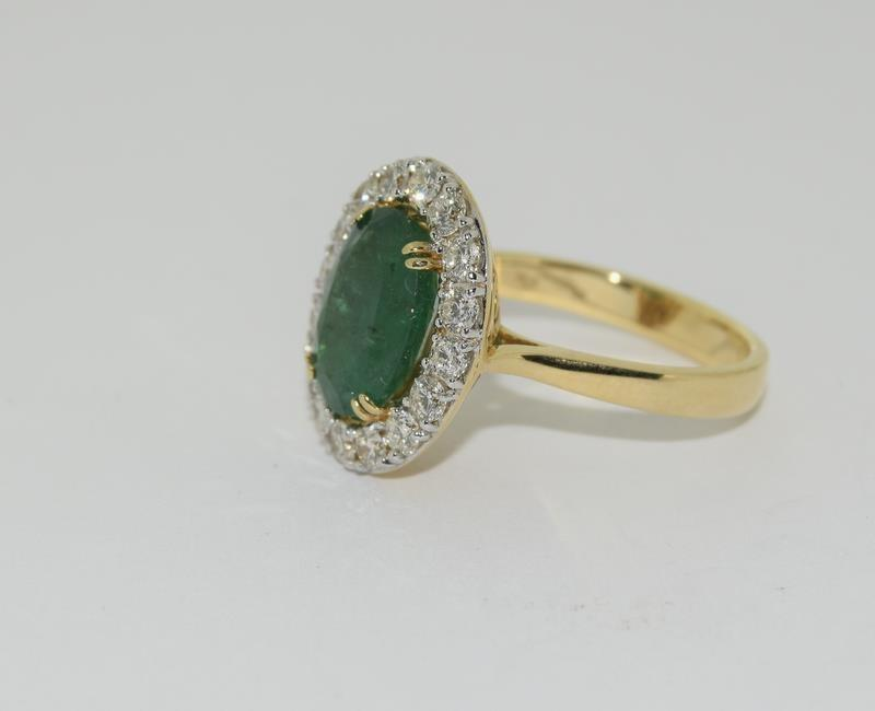 18ct gold Emerald and Diamond ring. Emerald approx 3.6ct and Diamond approx 1ct. - Image 4 of 6
