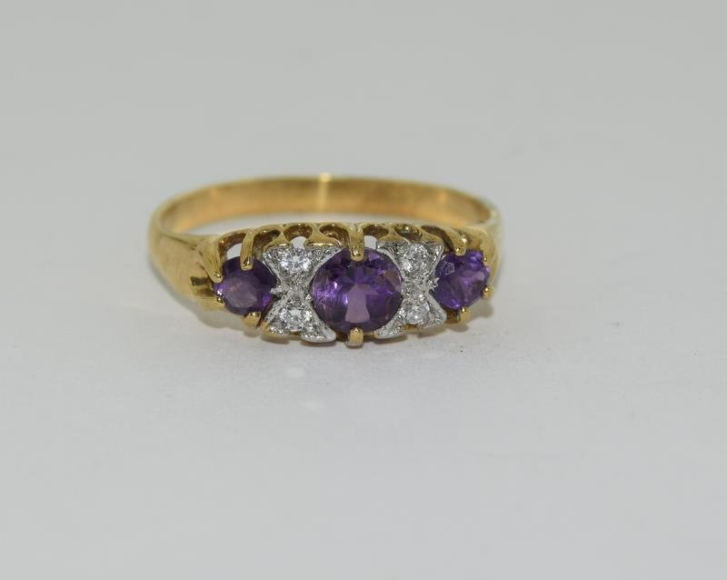 9ct Gold On Silver Amethyst ring.