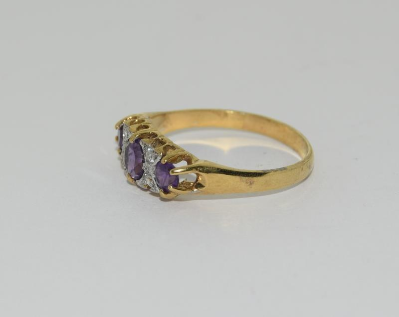 9ct Gold On Silver Amethyst ring. - Image 4 of 6