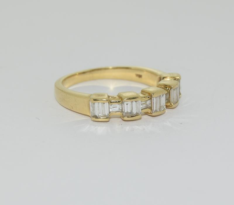 Baguette set Diamond ring - approx 0.75 points total, set in heavy 18ct Yellow Gold. Size O, Boxed. - Image 6 of 7