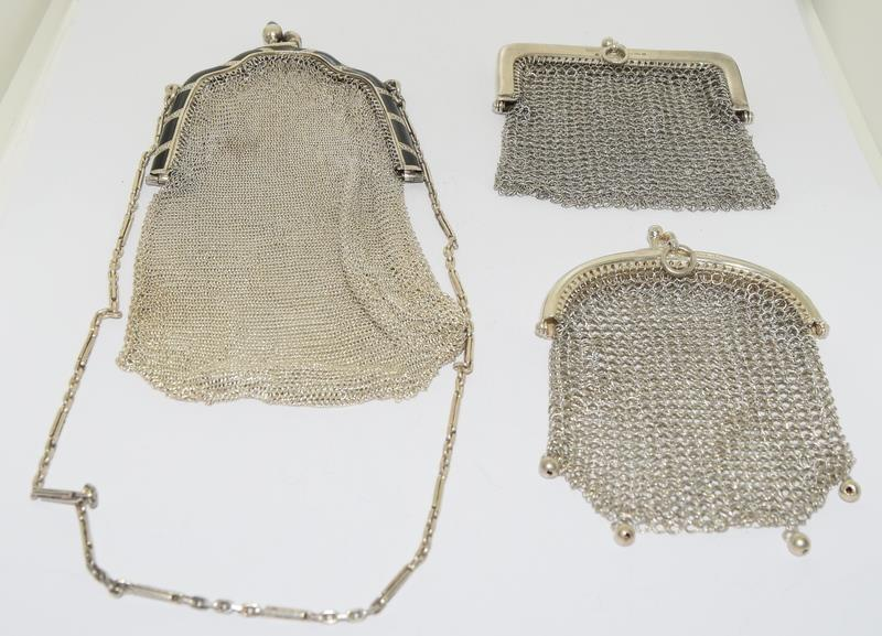 3 Silver Purses. One with Blue Cabuchon Clasp and Black Enamel Sides. One Early Import Mark,