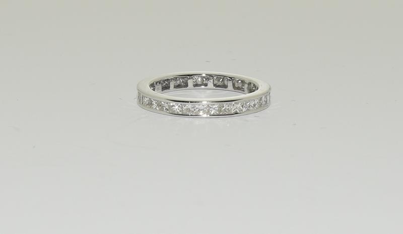 An 18ct white gold Princess cut Diamond 1.5ct full Diamond eternity band ring Size P 1/2. - Image 3 of 3