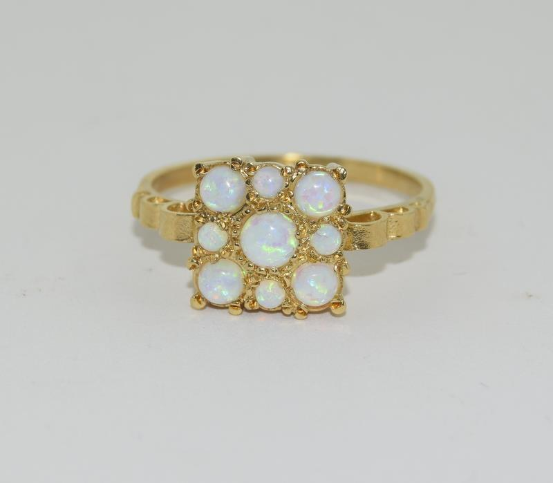 9ct Gold On Silver square Opaline ring. - Image 6 of 6