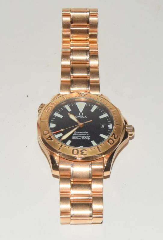 Rose Gold Omega Seamaster Wristwatch 300, Reference No. 2136500, boxed and papers. - Image 3 of 12