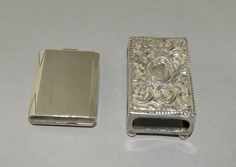 Silver Engine Turned Matchbook Holder and a Silver Matchbox Holder