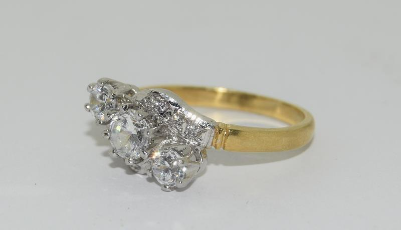 9ct Gold On Silver 3 stone CZ Twist ring. - Image 4 of 6
