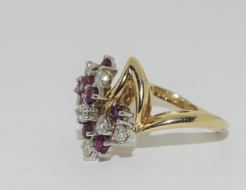 A 14ct yellow gold ruby and diamond ring in the Art Deco style. Size P - Image 4 of 6