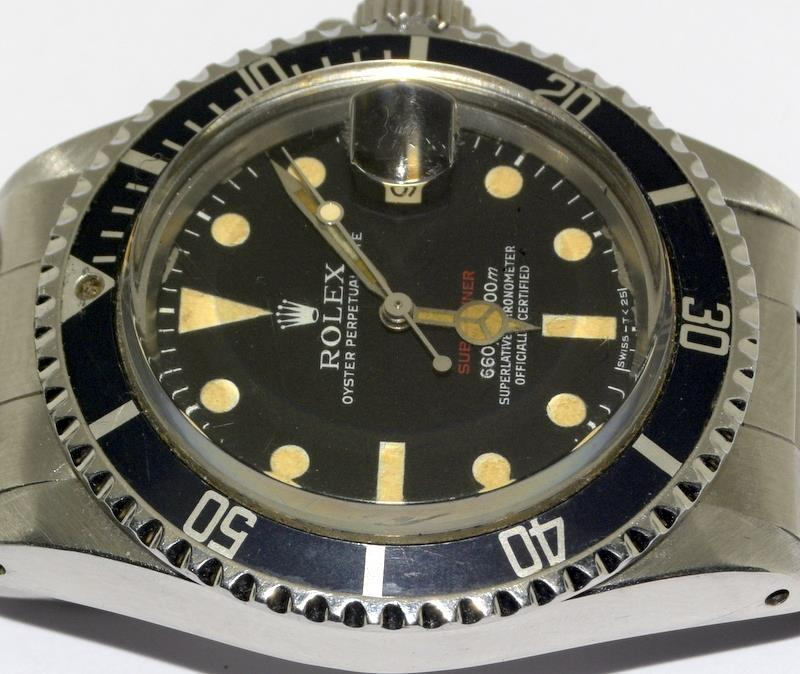 Rolex 1680 'Single Red' Submariner gents wristwatch . Movement 1570 number 306#### 1970s dial has - Image 11 of 11