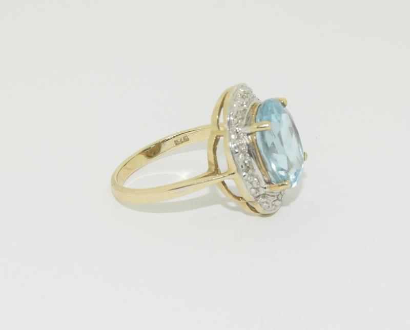 9ct Gold Antique Set Aquamarine Flower Ring - Image 5 of 6