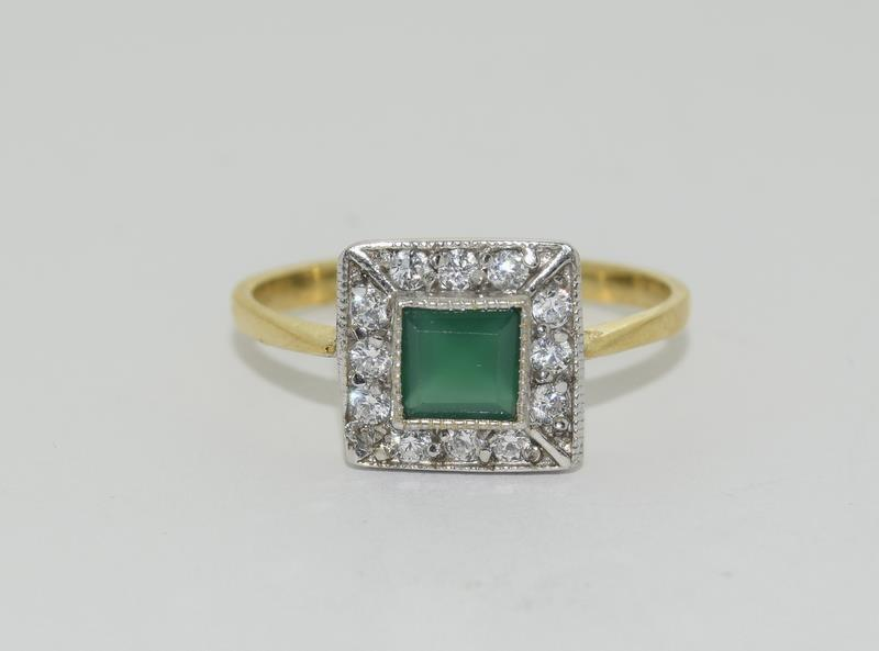 9ct Gold On Silver green Agate ring. - Image 6 of 6