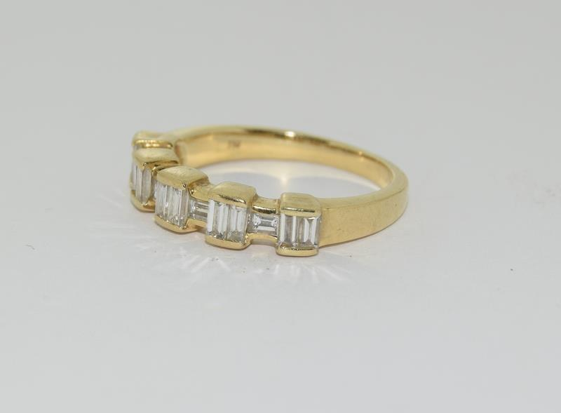Baguette set Diamond ring - approx 0.75 points total, set in heavy 18ct Yellow Gold. Size O, Boxed. - Image 5 of 7