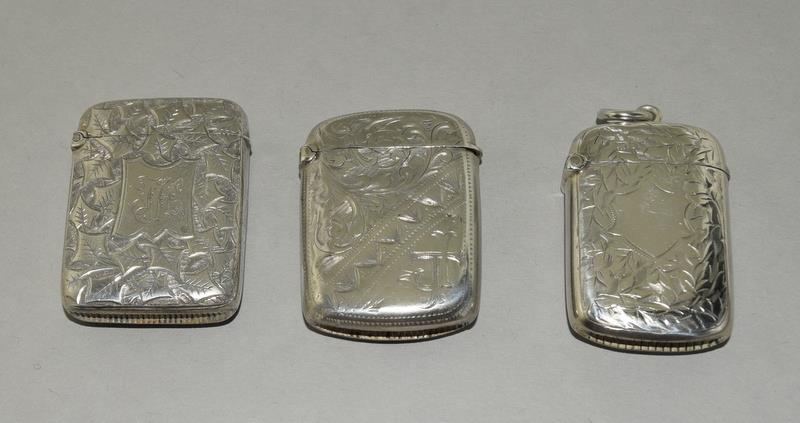 3 Silver Hallmarked Vesta Cases - Image 2 of 3