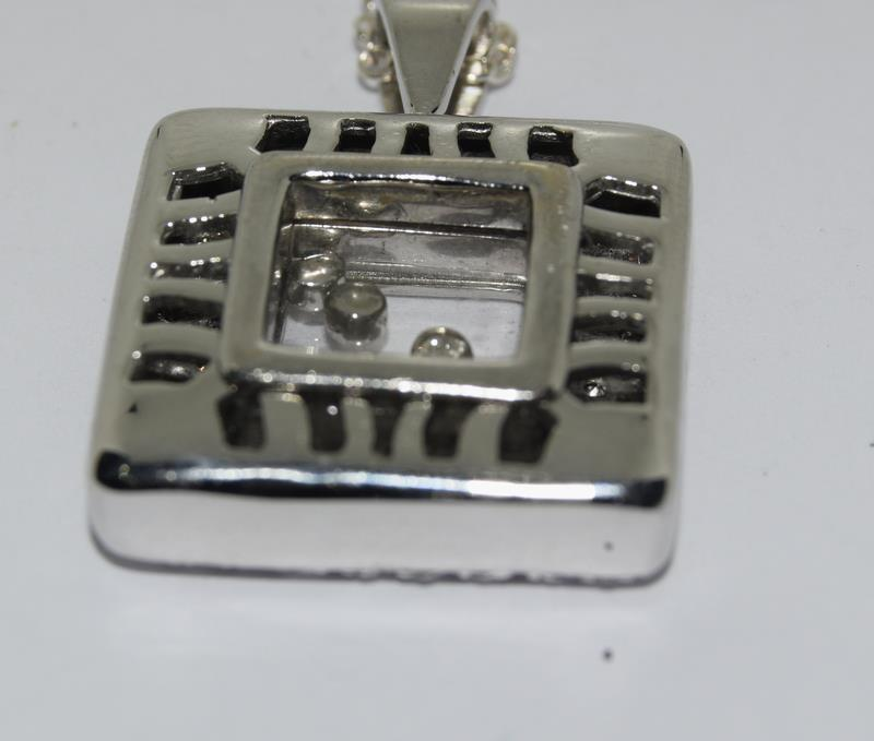 A 14ct white gold diamond Geometric glazed panel pendant. - Image 4 of 5