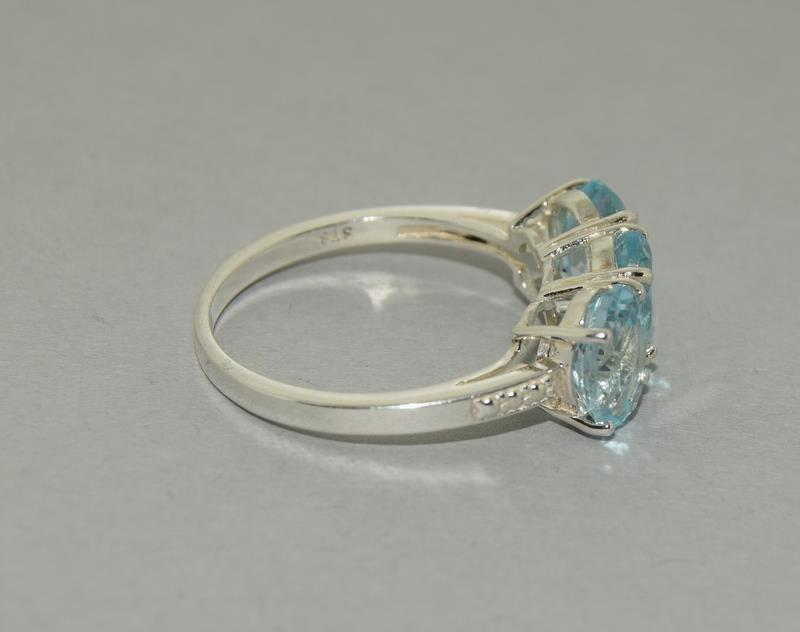 Large Ice Blue Topaz 925 Silver Trilogy Ring. Size Q1/2. - Image 4 of 5