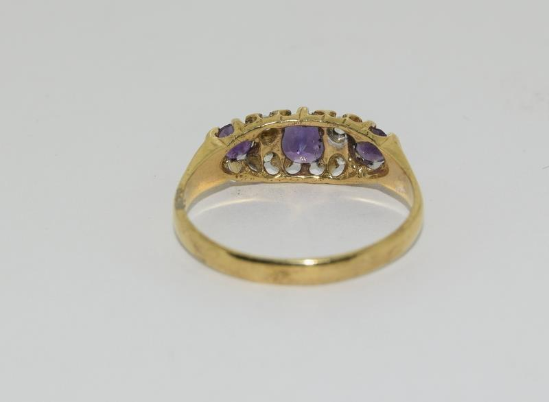 9ct Gold On Silver Amethyst ring. - Image 3 of 6