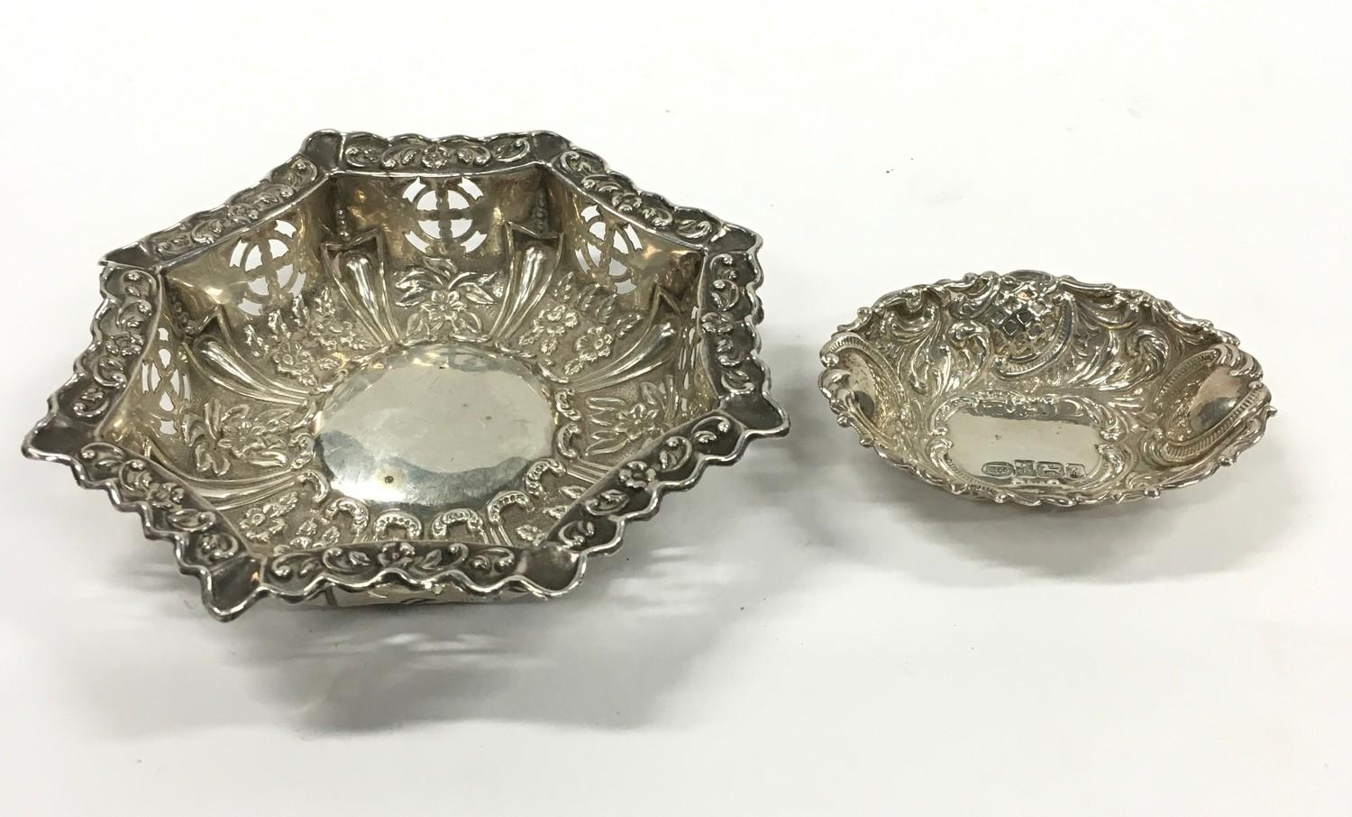 Silver Hallmarked Repousse Dish in Hexagonal Form together with a Silver Hallmarked Repousse Pin