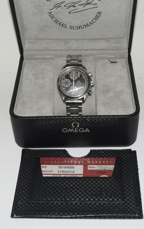 Omega Limited Edition Michael Schumacher watch with box and papers. Number 6977 of 11111. - Image 2 of 9