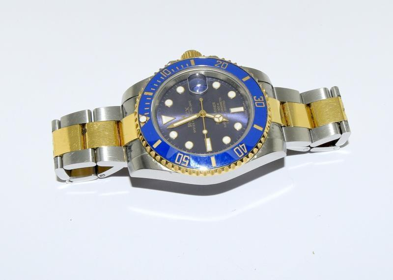 Rolex Submariner Blue Bi Metal 18ct Gold on Stainless Steel ceramic bezel gents wristwatch. No - Image 9 of 9