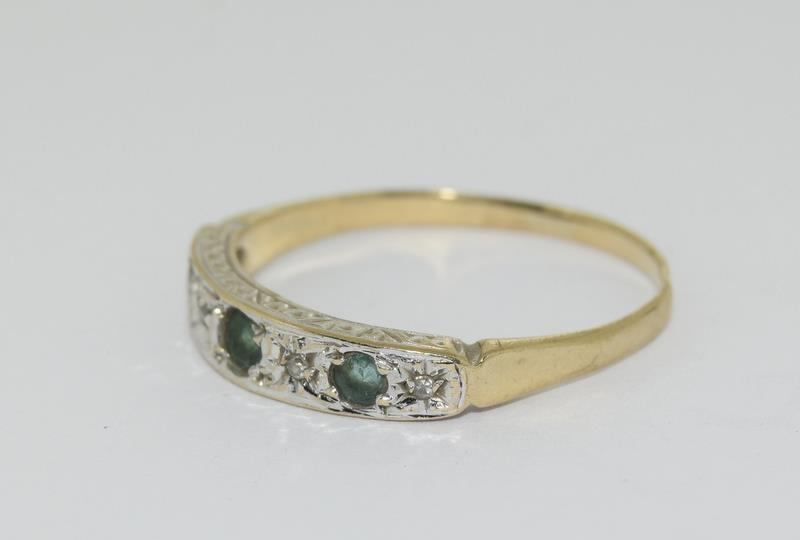 9ct Gold Antique Set Diamond 7 Sapphire Ring. Size O - Image 4 of 5