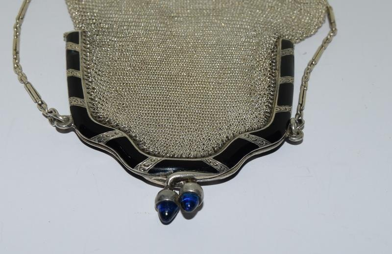 3 Silver Purses. One with Blue Cabuchon Clasp and Black Enamel Sides. One Early Import Mark, - Image 3 of 18