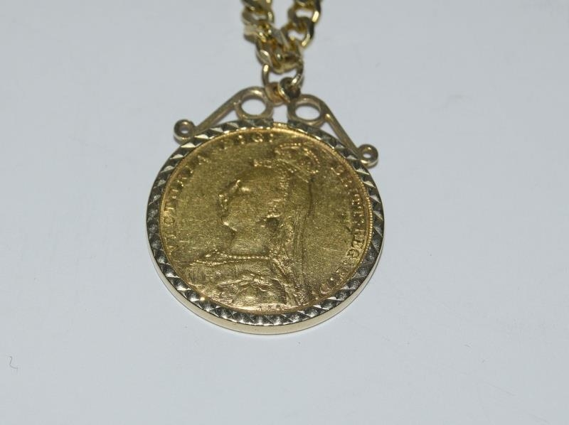 14ct Gold flat curb chain - 48 cm long with the Jubilee sovereign 1891 in a 9ct Gold mount. - Image 2 of 5