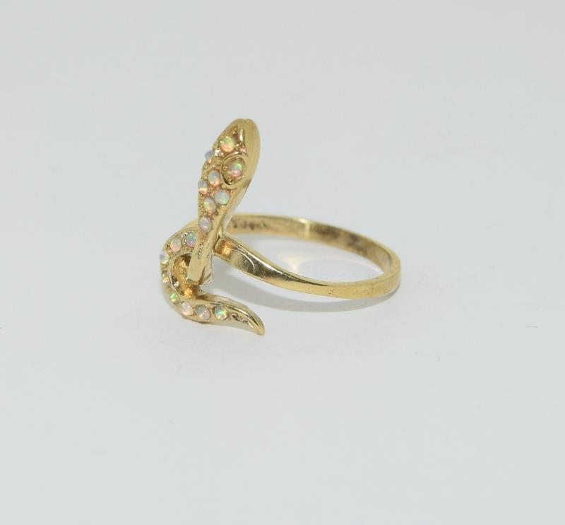 9ct Gold On Silver Opaline Snake ring. - Image 4 of 6