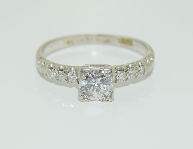 Ladies Platinum and Diamond Solitaire ring - 0.65. Size M.