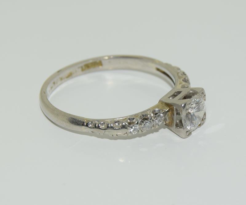 Ladies Platinum and Diamond Solitaire ring - 0.65. Size M. - Image 5 of 6