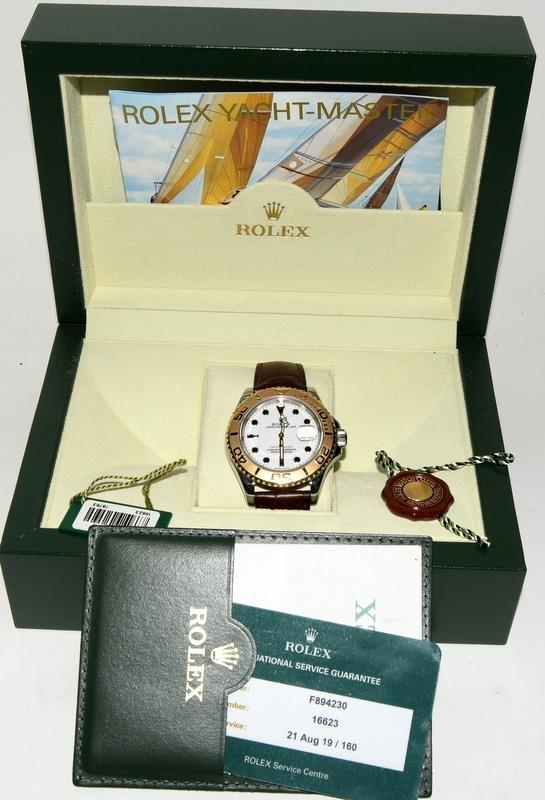 Rolex Yacht Master Bi Metal Writswatch on leather strap, with papers. Serviced August 2019. Model
