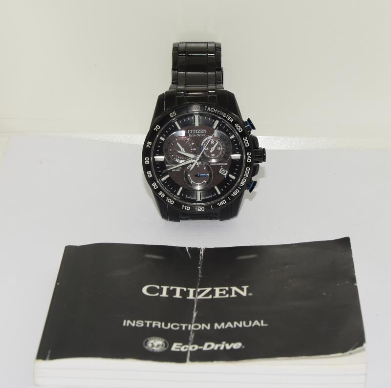 Citizen Eco-Drive Perpetual Calendar Sapphire wr 200 mans watch in black.