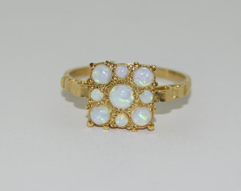 9ct Gold On Silver square Opaline ring.