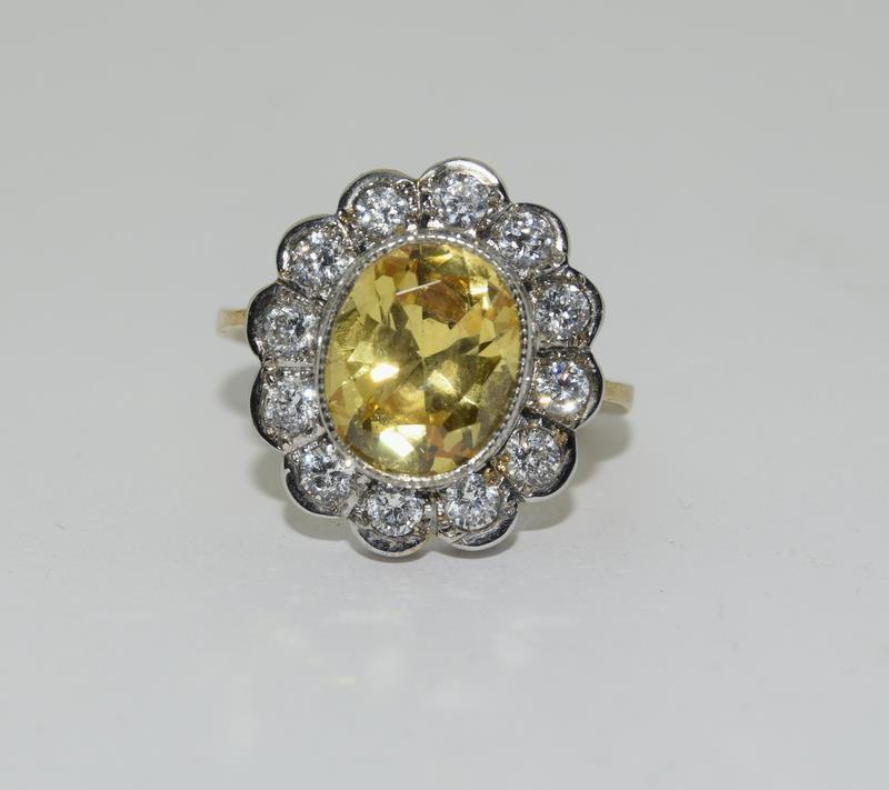 9ct Gold On Silver yellow stone ring. - Image 6 of 6