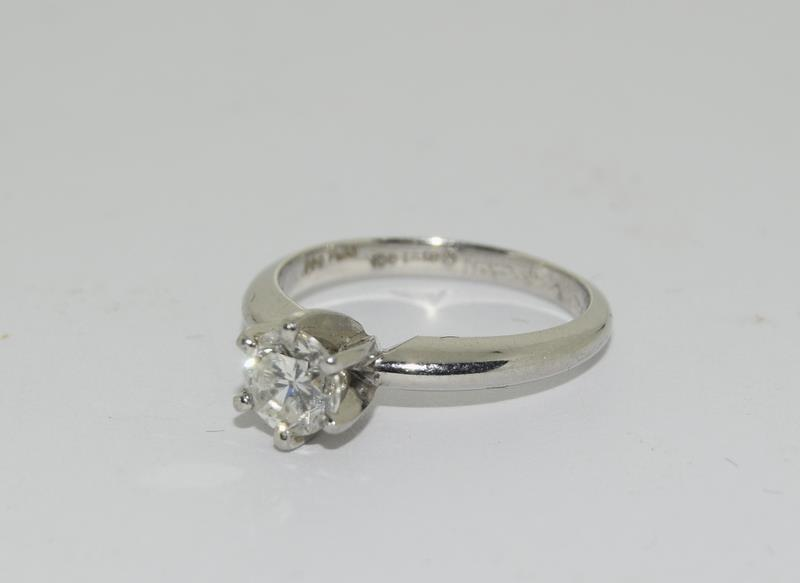 A Platinum set single stone ring of 65 points approx. Size L - Image 4 of 6