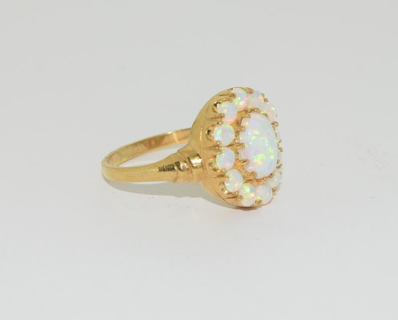 9ct Gold On Silver Opaline Cluster ring. - Image 5 of 6