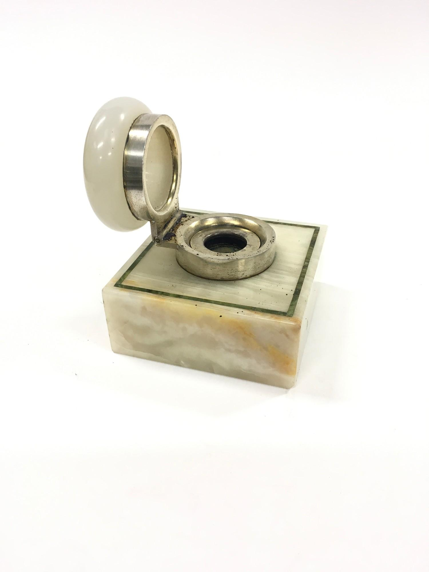 Silver & Onyx Art Deco Inkwell. - Image 2 of 2