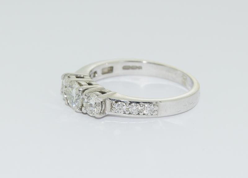 Moissanite 3 stone approx 0.5 points and sidestone set in 9ct White Gold ring in original box. - Image 4 of 5