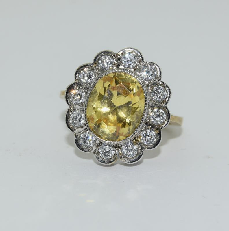 9ct Gold On Silver yellow stone ring.