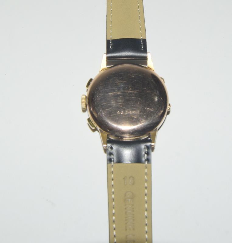 18ct Rose Gold Leonodas Triple Calander Chronograph Wristwatch. No.492472. - Image 4 of 6