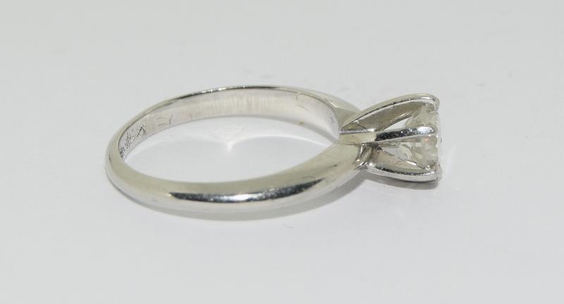 A Platinum set single stone ring of 65 points approx. Size L - Image 2 of 6