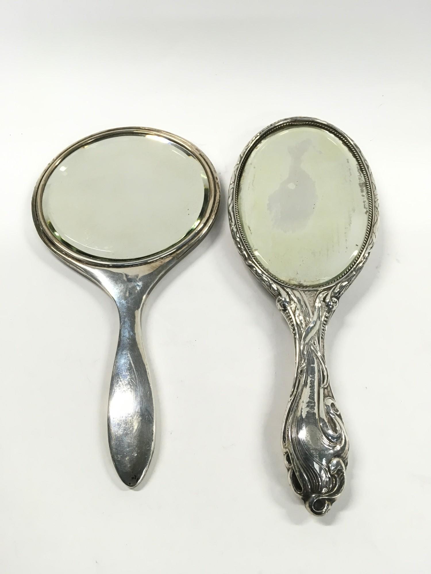 2 x Fully Hallmarked Silver Hand Mirrors, one Art Deco, the other Art Nouveau.