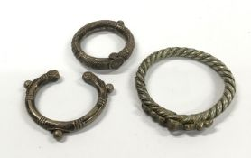 3 x Slave Style Bangles, possibly silver.