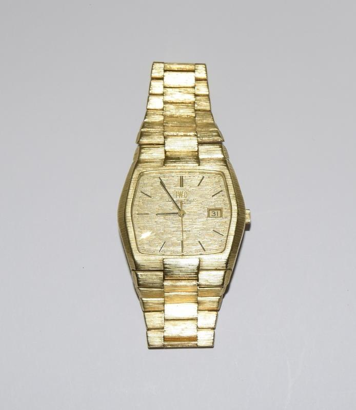Gents 18ct gold IWC automatic wristwatch bark effect bracelet with gold dial,working order ,total - Image 8 of 8