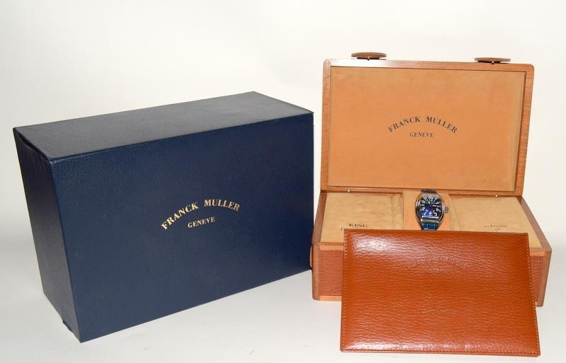 Franck Muller Stainless Steel King Conquistador wristwatch on leather strap, boxed and papers Ref.