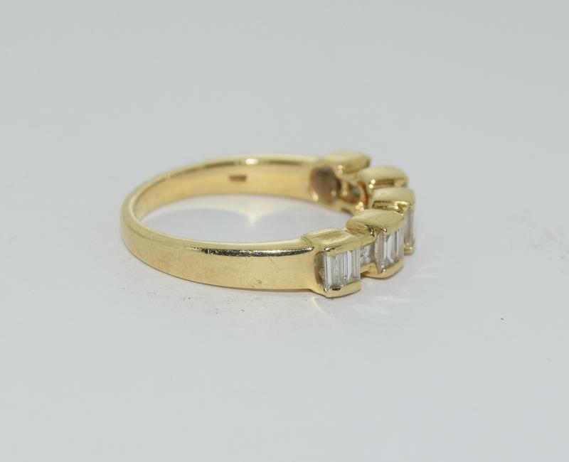 Baguette set Diamond ring - approx 0.75 points total, set in heavy 18ct Yellow Gold. Size O, Boxed. - Image 3 of 7