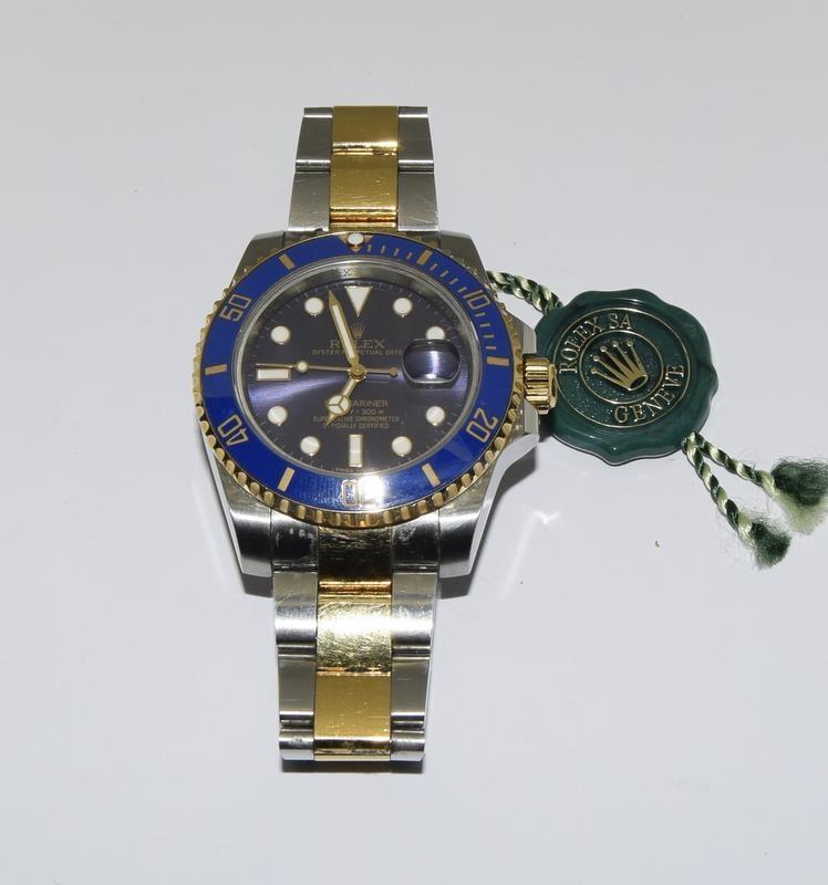 Rolex Submariner Blue Bi Metal 18ct Gold on Stainless Steel ceramic bezel gents wristwatch. No - Image 2 of 9