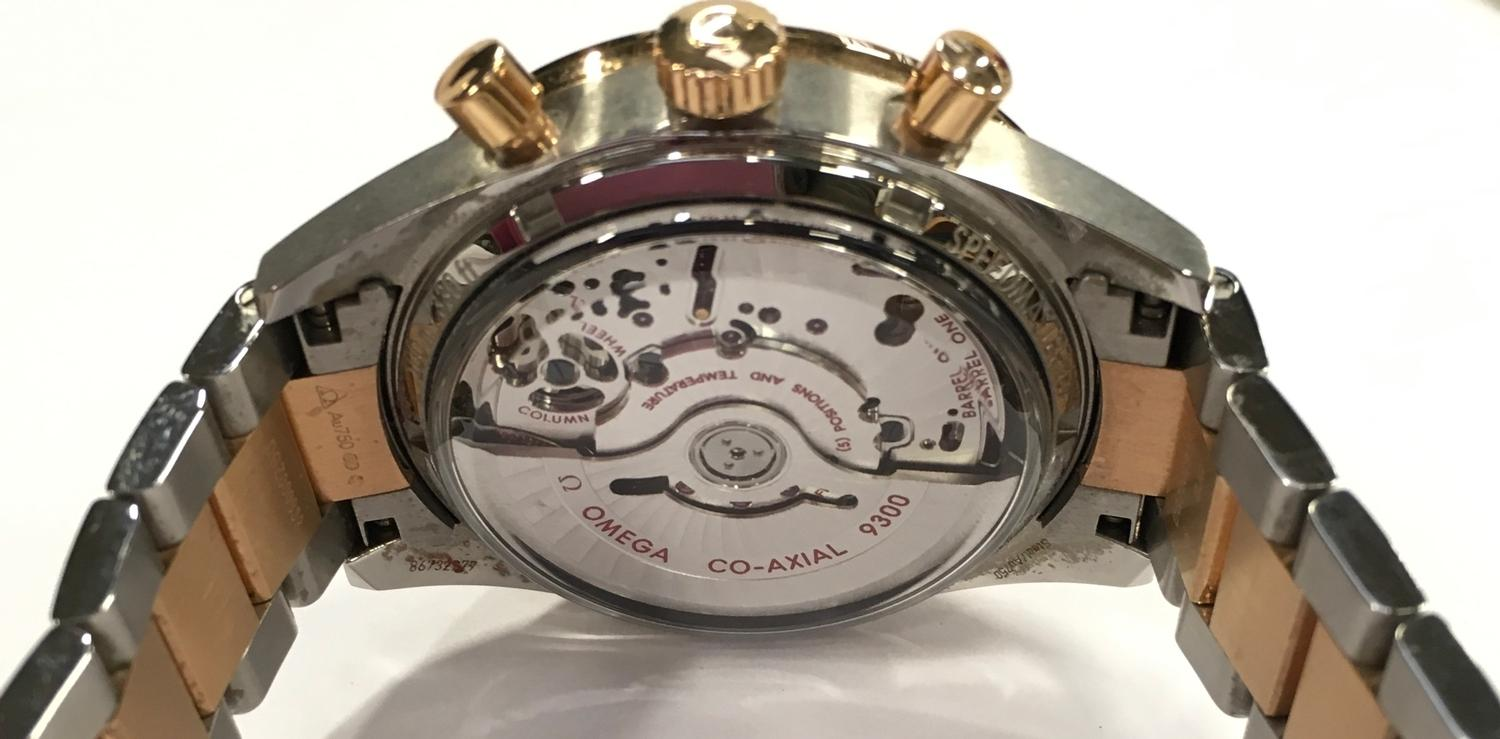 Omega Rose Gold and Stainless Steel Speedmaster Wristwatch, co-axial movement. - Image 7 of 11