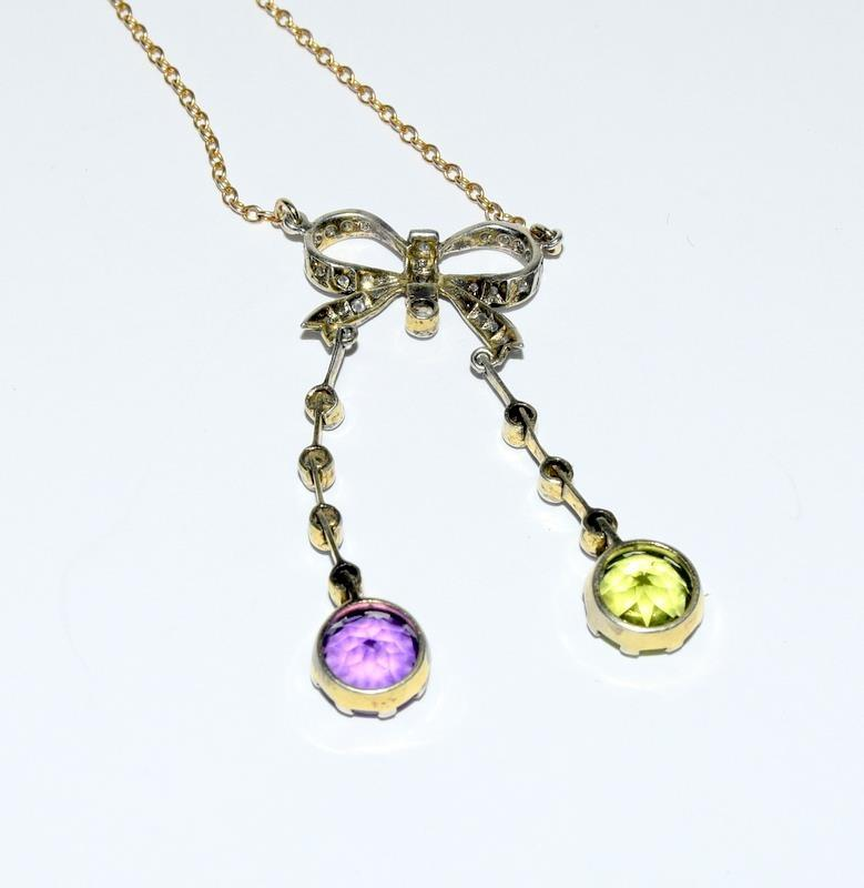 9ct Gold and Silver Antique Suffragette Diamond and Amethyst pendant. - Image 4 of 4