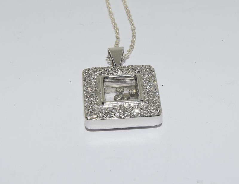 A 14ct white gold diamond Geometric glazed panel pendant. - Image 5 of 5